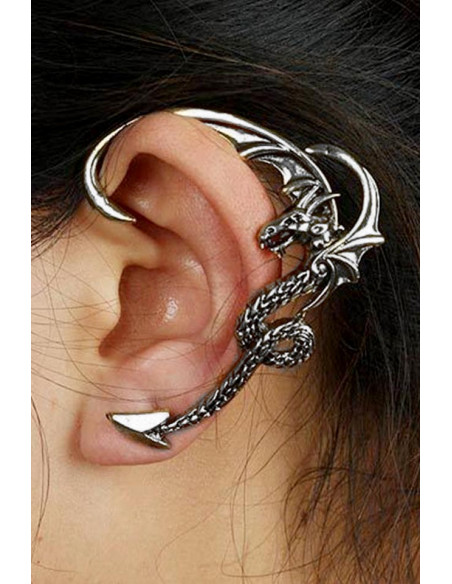 Cercel tip ear cuff, model cu dragon cu aripi incovoiate pe toata urechea, prindere in ureche