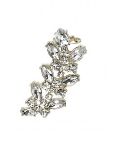 Cercel tip ear cuff, model Symmetry cu cristale albe