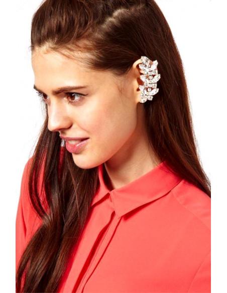 Cercel tip ear cuff, model Symmetry cu cristale albe