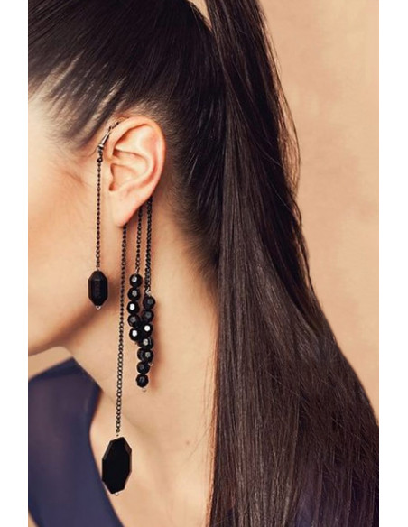 Cercel ear cuff lung, cu cristale negre, tip candelabru
