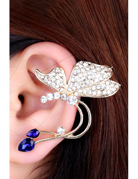 Cercel ear cuff cu cristale mici model fluture abstract