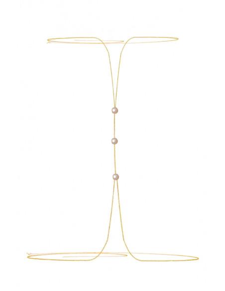 Lant pentru corp auriu cu 3 perle mici la piept
