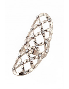 Inel lat, pe tot degetul, romburi cu cristale albe