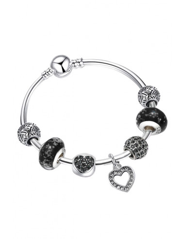 Bratara placata cu argint tip Pandora, cerc fix cu cristale, inimioare si sticla de Murano