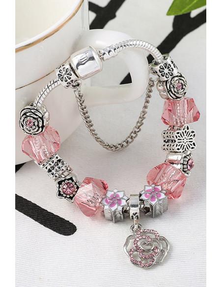 Bratara tip Pandora placata cu argint, floare mare cu cristale si floricele mici colorate