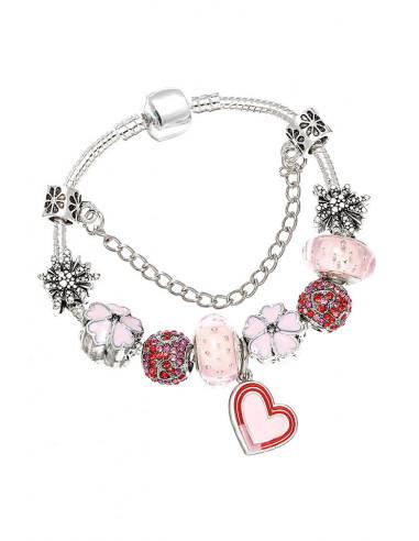 Bratara tip Pandora placata cu argint, inimioara bicolora, flori, stelute si margele