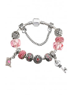 Bratara tip Pandora placata cu argint, plic cu inimioare, cheita flori si fluturi