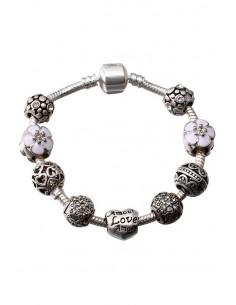 Bratara placata cu argint tip Pandora, Amour cu cristale si flori