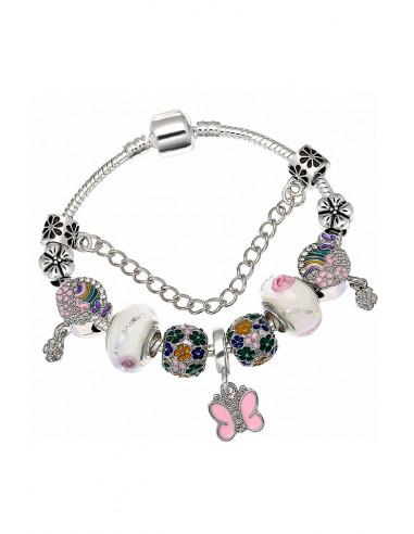 Bratara tip Pandora placata cu argint, medalioane pictate cu flori si fluturasi si margele albe