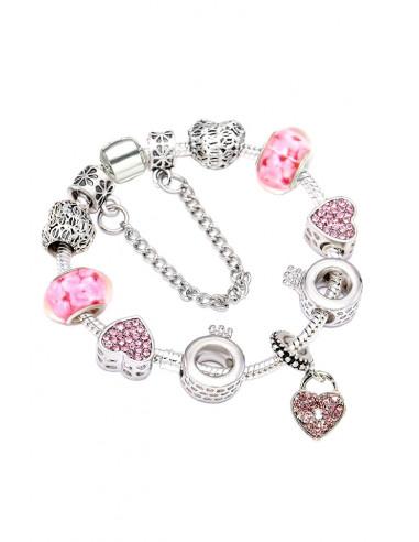 Bratara tip Pandora placata cu argint, inele cu coronita, inimioare, cristale si ingerasi
