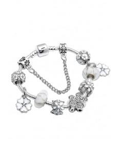Bratara tip Pandora placata cu argint, medalioane cu flori pictate si margele mari albe