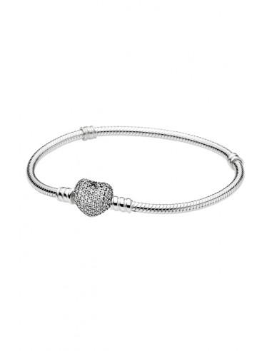 Bratara snur pentru charmuri, tip Pandora, cu incuietoare inimioara cu cristale