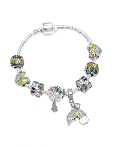 Bratara placata cu argint tip Pandora, medalioane multicolore cu flori, fluturi si curcubeu