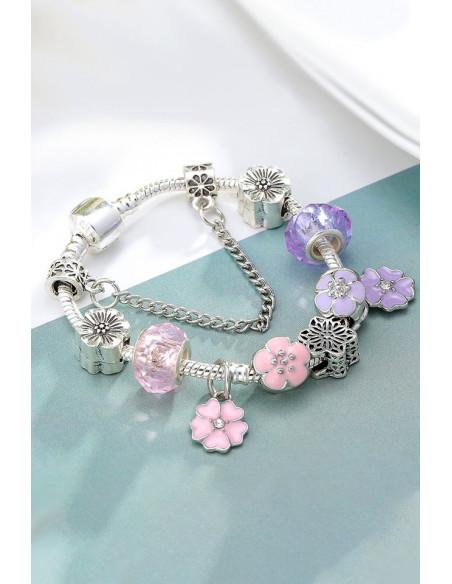 Bratara tip Pandora placata cu argint, bicolora, cu floricele pictate si margelute fatetate