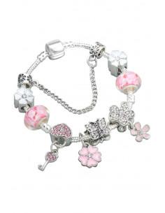 Bratara tip Pandora placata cu argint, fluturas, inimioara cu cheita si floricele cu cristale