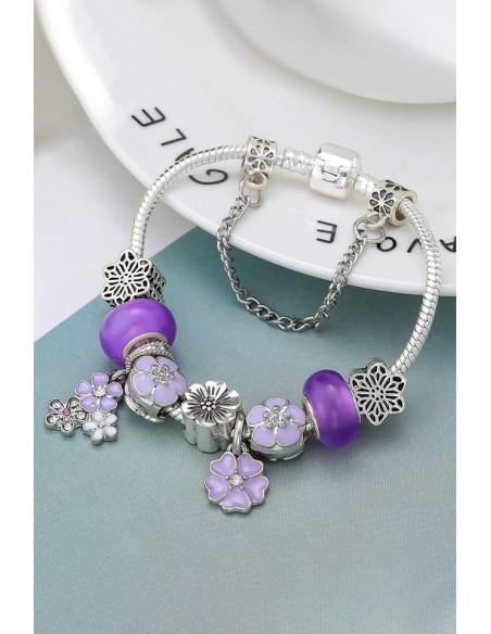 Bratara tip Pandora placata cu argint, medalioane cu flori pictate si margele mari mov