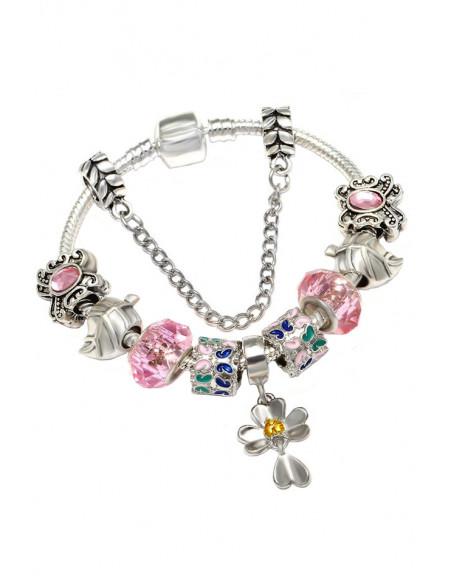 Bratara tip Pandora placata cu argint, floare, fluturasi, frunze si margele fatetate