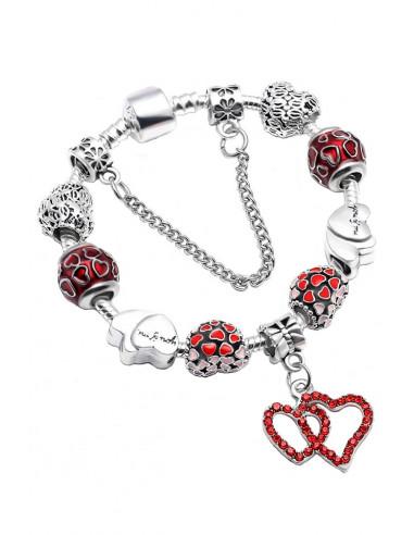 Bratara tip Pandora placata cu argint, inimioare pictate, cristale si medalioane You&Me