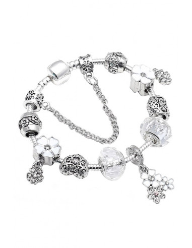 Bratara tip Pandora placata cu argint, flori pictate, inimioare cu cristale si margelute fatetate