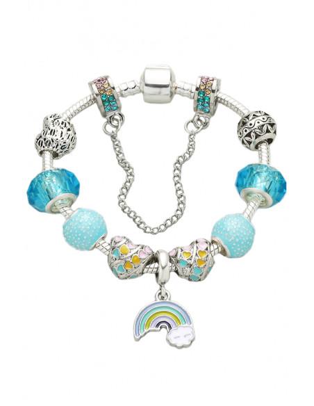 Bratara tip Pandora placata cu argint, curcubeu cu norisor, inimioare colorate si margelute