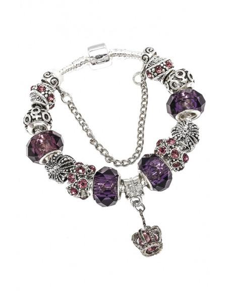 Bratara tip Pandora placata cu argint, coroane, cristale si margele fatetate