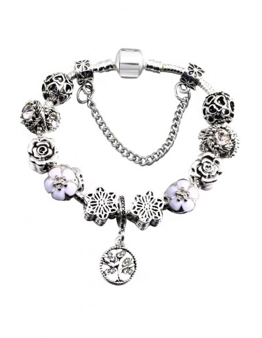 Bratara tip Pandora placata cu argint, copac cu fluturi, cristale, inimioare si flori