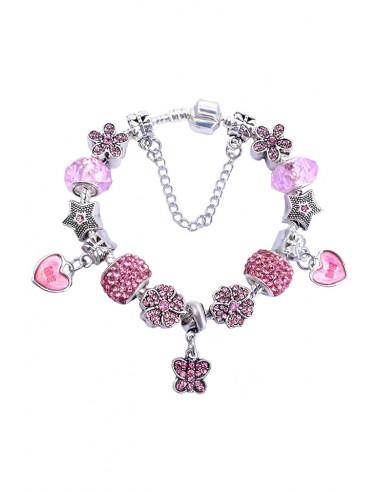 Bratara tip Pandora placata cu argint, inimioare, stelute, flori si fluturas