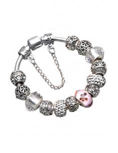 Bratara placata cu argint tip Pandora, medalioane metalice cu flori si cristale si sticla pictata roz