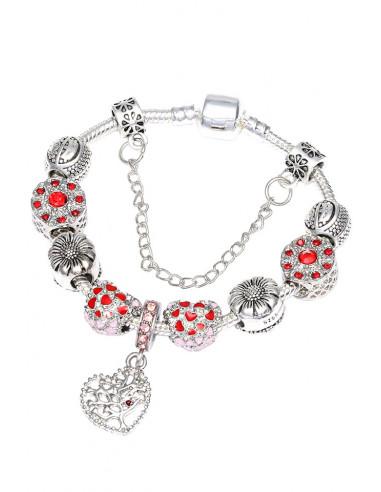 Bratara placata cu argint tip Pandora, inimioare colorate, floarea soarelui si copac