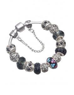Bratara placata cu argint tip Pandora, medalioane metalice cu flori si cristale si sticla pictata neagra