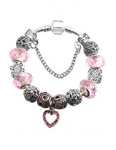 Bratara placata cu argint tip Pandora, inimioare cu cristale, flori si margele mari fatetate