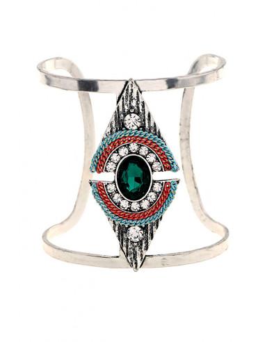 Bratara lata etnica tip cuff cu model geometric, romb cu cristale si lantisoare