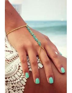 Bratara cu inel, bratara arabeasca cu margelute colorate
