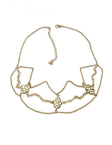 Bentita pentru par cu perle mici si medalioane