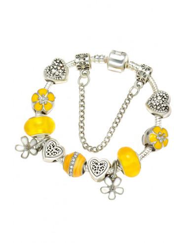 Bratara tip Pandora placata cu argint, inimioare cu copac si cheie, flori si margelute
