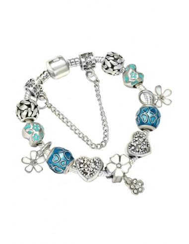 Bratara tip Pandora placata cu argint, inimioare cu flori si copaci, margele cu inimioare si cristale