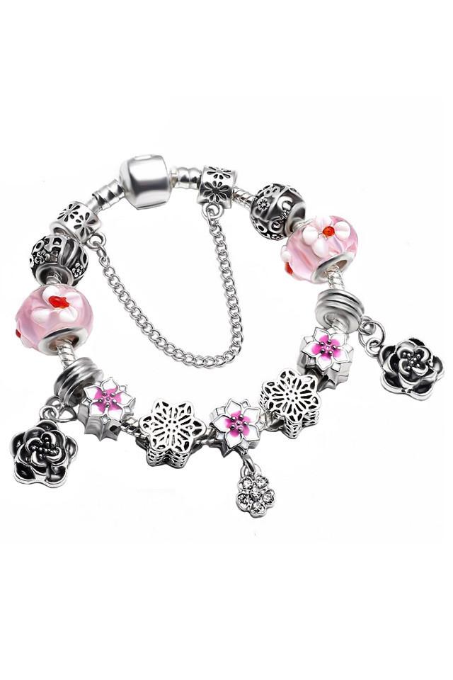 Bratara placata cu argint tip Pandora, margele de Murano, flori pictate si trandafiri metalici