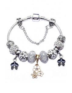 Bratara tip Pandora placata cu argint, orhidee, buchet de floricele, cristale si margele fatetate