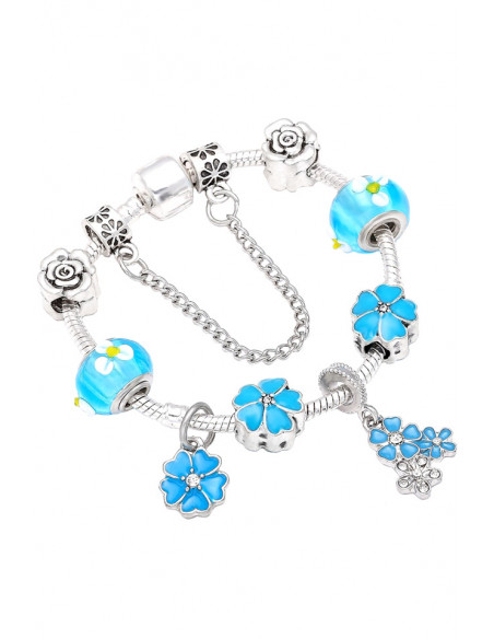 Bratara tip Pandora placata cu argint, trandafiri, buchetel de flori si margele de Murano