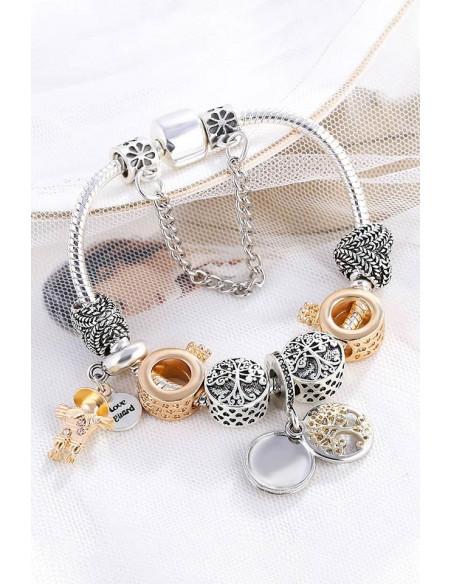 Bratara tip Pandora placata cu argint, inele cu coronita aurii, inimioare si copaci