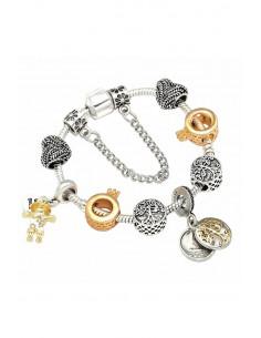 Bratara tip Pandora placata cu argint, inele cu coronite aurii, inimioare si copaci