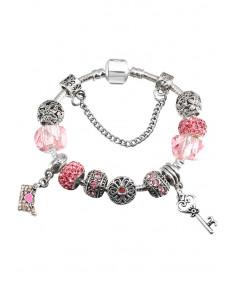 Bratara placata cu argint tip Pandora, cheie, plic cu inimioara, margele cu flori si cristale