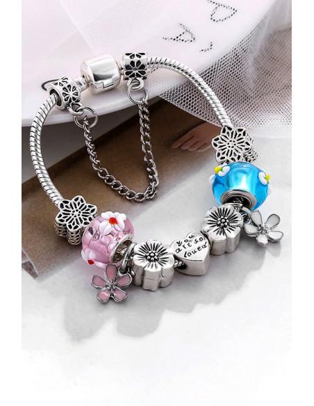 Bratara tip Pandora placata cu argint, bicolora, cu margele de Murano, flori si inimioare