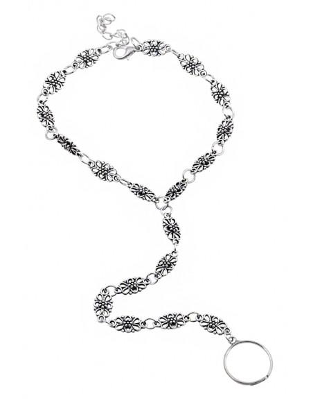 Bratara cu inel pentru glezna, model boho etnic cu zale din flori