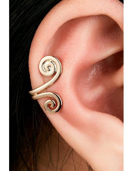 Cercel ear cuff, spirala dubla plata
