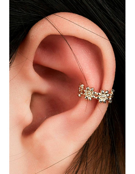 Cercel ear cuff, coronita ingusta cu flori