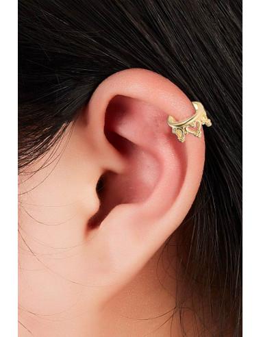 Cercel ear cuff, coronita lata, cu inimioare