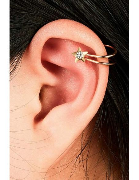 Cercel ear cuff, model cu steluta si cristal, foarte mic si delicat