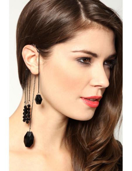 Cercel ear cuff lung, cu cristale negre din plastic, tip candelabru