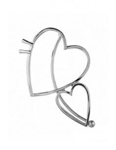 Cercel ear cuff cu 2 inimioare mari, prindere peste ureche